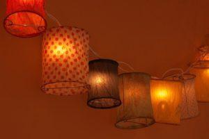 和紙で囲われている電球